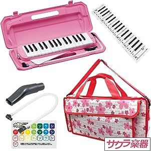 """鍵盤ハーモニカ (メロディーピアノ) P3001-32K/PK ピンク [専用バッグ""""Girly Flower""""] サクラ楽器オリジナルバッグセット"""