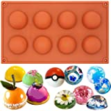 Funshowcase 8 Cavity Semi Sphere Half Round Dome Silicone Mold Chocolate Teacake Baking Tray Medium