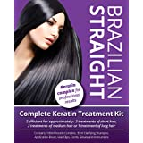 Brazilian Straight, Keratin Home Use Treatment Kit, Salon Quality Hair Straightening/Blow Dry/Smoothing, 100ml, Great Gift/Pr