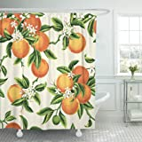 """Emvency Shower Curtain Waterproof Polyester Fabric Set with Hooks, Polyester & Polyester Blend, Orange, 72""""W x 72""""L"""