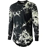 KLIEGOU Mens Hip Hop Tie-Dyed Hipster Curve Hem T Shirt