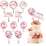 kortes 12 Pack Rose Gold Birthday Cake Topper Set, 6 Pattens Acrylic Cake Topper with 6 Pcs Confetti Balloon Happy Birthday C
