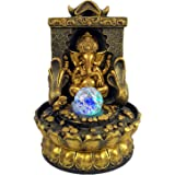 Ganesha Statues Tabletop Water Fountain, Zen Meditation Indoor Waterfall Feature with Illuminated Rolling Ball for Home Offic