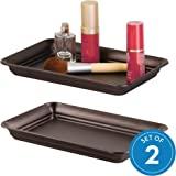 InterDesign 02871 Countertop Guest Towel Tray - Bathroom Vanity Organizer Set of 2 Bronze