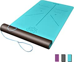 DAWAY Eco Friendly TPE Yoga Mat Y8 Wide Thick Workout Exercise Mat, Non Slip Grip Pilates Mats, Body Alignment System,...