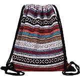 Van Caro Bohemian Drawstring Backpack Light Cinch Bag Gym Sack String Bag, color 2 (color 2) - bb-03180-02VC
