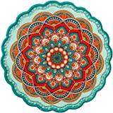 Arly Ceramic Tile Green Trivet for Hot Dishes, Art Waterproof Insulation Pads with Bohemia Style,Round 7.7 Inch