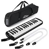 Eastar 鍵盤ハーモニカ ピアニカ ホース+唄口セット 軽量 ABS樹脂 防錆 2 xショートマウスピース 2 x延長ホース 1×キャリーバッグ (ブラック 32鍵)