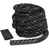 9m/12m/15m Battle Rope, 38mm Diameter Exercise Workout Training Rope Strength Muscles Building Conditioning Rope Home Gym Equ