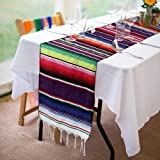 Xplanet Mexican Table Runner for Mexican Party Wedding Decorations, Fringe Cotton Serape Blanket Table Runner 36cm x 210cm