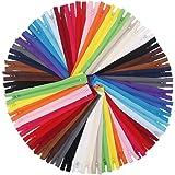 EuTengHao 100Pcs Nylon Coil Zippers 9 Inch Colorful Nylon Zipper for Sewing Bulk Sweing Zipper Supplies with Zipper Presser F