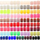 888 Pieces Colorful Short False Nails Square Artificial Fake Nail Full Cover Coffin Press on Nails Colorful 37 Sets Full Cove