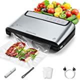 Elechomes Vacuum Sealer, Built-in Bag Storage and Cutter, 85 KPA Powerful Suction Food Saver Machine, Dry and Moist Food Pres