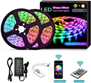 YOMYM LED Strip, LED Strip Kit, Light Bar Controlled by Smartphone, Wireless, WiFi, for Android and iOS, Alexa, Google Assist