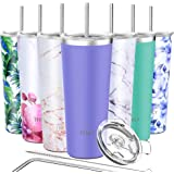 Tumbler Stainless Steel Travel Mug - THILY 26 oz Triple-Insulated Coffee Cup with 2 Lids and Straws, Reusable, Powder Coated,