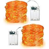 BrizLabs Orange Halloween Lights, 19.47ft 60 LED Orange Fairy Lights String, 2 Modes Battery Halloween String Lights, Indoor