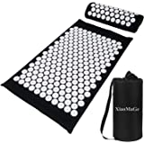 Yoga Acupressure Mat and Pillow Set with Bag - Extra Long 73X42cm Massage Acupuncture Mat - Naturally Relax Back, Neck and Fe