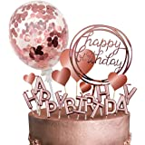 MOVINPE Rose Gold Cake Topper Decoration with Happy Birthday Candles Happy Birthday Banner Confetti Balloon Hearts For Rose G