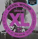 D'Addario ダダリオ エレキギター弦 ニッケル SuperLight 8弦 .009-.065 EXL120-8 【国内正規品】