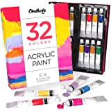 Acrylic Paint Set (32 Colors, 22 ml tubes, 0.74 oz.) for Canvas, Crafts, Wood Painting - Rich Pigment, Non Fading, Vibrant No