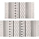Pauwer Cotton Area Rug Set 2 Piece Machine Washable Printed Cotton Rugs with Tassel Hand Woven Cotton Rug Runner for Kitchen,