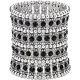 Szxc Jewelry Women's Multilayer Crystal Wide Stretch Bracelet 4 Row