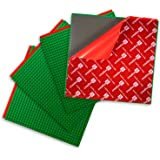 Peel-and-Stick Baseplates - Self Adhesive Building Brick Plates - Compatible with All Major Brands - 4 Pack - Green - 10 inch