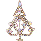 Flyonce Austrian Crystals Lovely Cute Christmas Tree Brooch Gold-Tone