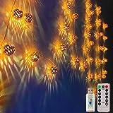 Moroccan Globe String Lights USB 8 Mode 24ft 50 LEDs Rose Gold Diwali Lanterns for Wedding Bedroom Window Garden Patio Tent T