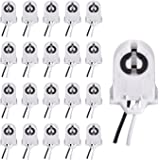 Screw Type T8 Lamp Holder with Wires JACKYLED 20-Pack UL Non-Shunted Light Socket for LED Fluorescent Tube Replacements