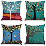 Throw Pillow Covers Natural Pattern Decorative Pillowcases 18x18inch (4 Pieces Set) Pillow Cases Home Car Decorative (Trees a