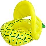 SENYANG 子供用浮き輪 足入れ浮き輪 パイナップルのフロート ハンドル付 屋根付き 日焼け予防 水泳補助具 1~3歳 (黄)