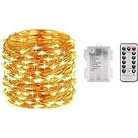 LEDイルミネーションライト ジュエリーライト 100球 10m 電池式 リモコン付 8パターン 点滅 点灯 タイマー機…