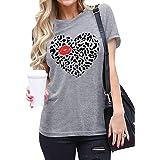 Valentine's Day Shirt for Women Sweet Love Heart Leopard Print Graphic Tee Shirt Short Sleeve Cute Tops Tees