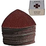 XXGO Triangular Oscillating Multi Tool Sanding Pads 3-1/8 Inch 80mm Assorted Grit 60/80/100/120/240 Grits Pack of 55 Pcs No.X