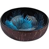BESTONZON Coconut Bowls Natural Coconut Shell Storage Bowl Candy Container Nuts Holder 15 x 15 x 6.5cm Blue
