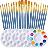 Paint Brush Set by DUGATO, 2 Packs/20pcs Nylon Hair Brushes with 5 Paint Palettes for Acrylic Watercolor Oil Gouache Enamel o