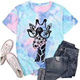 MYHALF Womens Fun Animal Graphic Tees Casual Short Sleeve Summer Cute Giraffe Printed T-Shirt Tops
