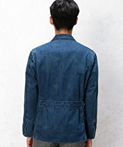 Denim Peaked Lapel Work Jacket 3225-199-1956: Cobalt