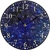 星座宇宙星 掛け時計 置き時計 おしゃれ 北欧 油絵の効果 壁掛け 連続秒針 リビング 部屋装飾 贈り物