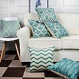 "FY Home 6PCS Set Square Decoration Pillowcase Sofa Cushion Throw Pillow Cover Home Decorative (18 x 18"", A)"
