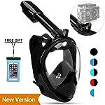 Poppin Kicks Full Face Snorkeling Mask 180° Panoramic View Anti-Fog Easy Breathe Anti-Leak Design GoPro Compatible w...