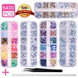 6400pcs Nail Art Rhinestones Nail Crystal Gems Nail Diamonds, Gold Silver Nail Art Studs Colorful Nail Sequins & Rhinestones