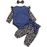 Oeillet d'ne Baby Girls' 3-Piece Bodysuits Short or Long Sleeve Shirt and Pants Set with Headband