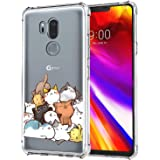 KIOMY Case for LG G7 ThinQ for Girls Boy Clear with Cute Cat Design Shockproof Bumper Protective Lovely Funny Kitty Cell Phon