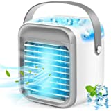 Portable Air Conditioner, Rechargeable Evaporative Air Conditioner Fan with 3 Speeds 7 Colors, Cordless Personal Air Cooler w