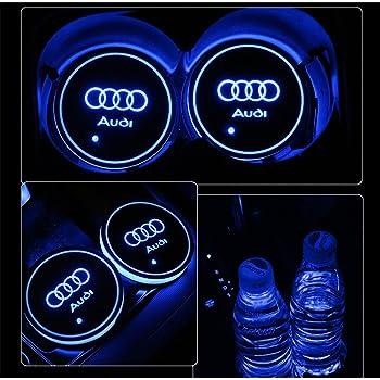 車用 LED ドリンクホルダー レインボーコースター 車載 ロゴ ディスプレイライト LEDカーカップホルダー マットパッド (Audi)