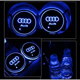 Alichee LED Car Logo Cup Holder Pad 7 Colors Changing USB Charging Mat LED Cup Mat Car Atmosphere Lamp Decoration Lights 2PCS