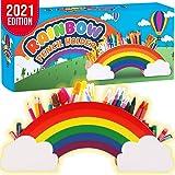 Insnug Kids Desk Organizer School Supplies - Cute Rainbow Cloud Wooden Pencil Holder Desk Accesories Decor for Phone, Art Sup