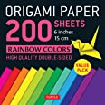 """Origami Paper 200 sheets Rainbow Colors 6"""" (15 cm): Tuttle Origami Paper: High-Quality Double Sided Origami Sheets Printed wi"""